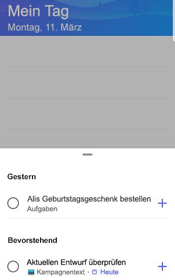 """Screenshot von To-Do unter Android mit geöffneten Vorschlägen gruppiert nach """"Gestern"""" und """"Bevorstehend""""."""