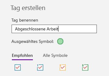 Erstellen benutzerdefinierter Tags in OneNote für Windows 10
