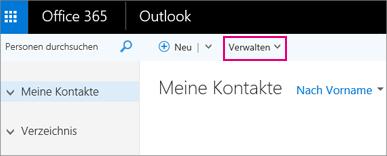 """Eine Abbildung der Seite """"Personen"""", wie sie in Outlook im Web aussieht"""