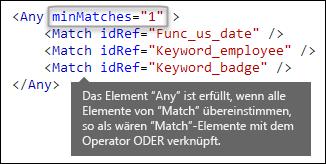 """XML-Markup mit dem Element """"Beliebig"""" und dem Attribut """"minÜbereinstimmungen"""""""