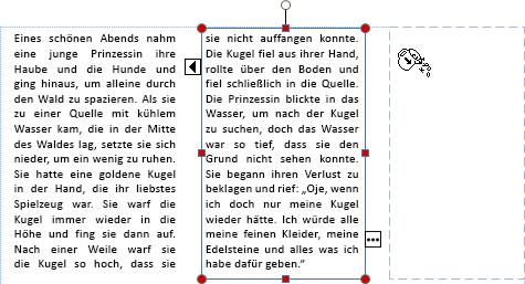 Screenshot eines Textfelds mit Überlauftext, der in ein anderes Textfeld überlaufen wird