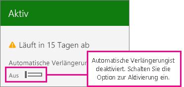 Abonnement-Screenshot mit der Umschaltfläche für automatische Verlängerung