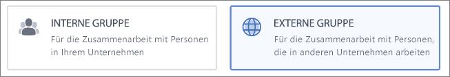 Screenshot, der zeigt, dass Sie eine interne oder eine externe Gruppe erstellen können