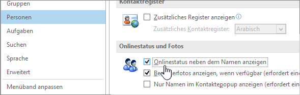 "Registerkarte ""Personen"" im Dialogfeld ""Optionen"" mit hervorgehobener Option ""Onlinestatus anzeigen"""