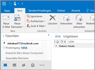 Abbildung, die ein Outlook.com-Konto in Outlook 2016 darstellt.