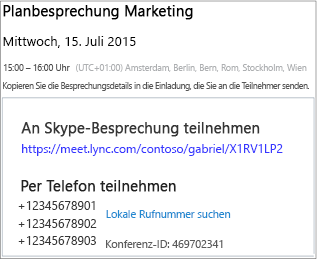 skype for business web scheduler - office-support, Einladung