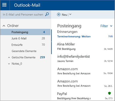 Primary Outlook.com- oder Hotmail.com-Bildschirm