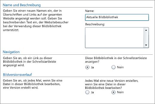 Dialogfeld zum Hinzufügen von Name, Diagramm, Schnellstartnavigation und Versionsverwaltung