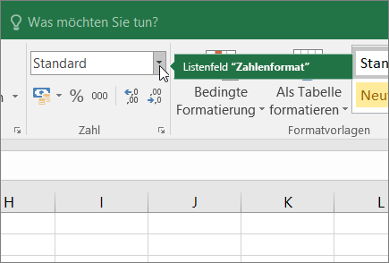 Listenfeld ' Zahlen Format '