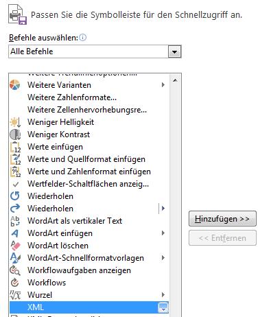 Wählen Sie in der Liste mit Befehlen 'XML' aus, und klicken Sie dann auf 'Hinzufügen'.