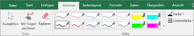 """Abbildung der Registerkarte """"Zeichnen"""" in Excel 2016."""