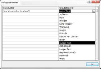 Einfügen der Frage in das Dialogfeld 'Abfrageparameter'