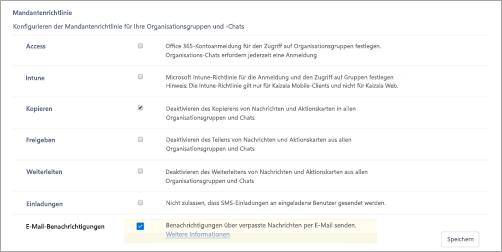 """Screenshot der Seite """"Mandanten Richtlinien"""" in Kaizala"""