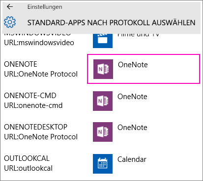 Screenshot der OneNote-Protokolle in den Windows 10-Einstellungen