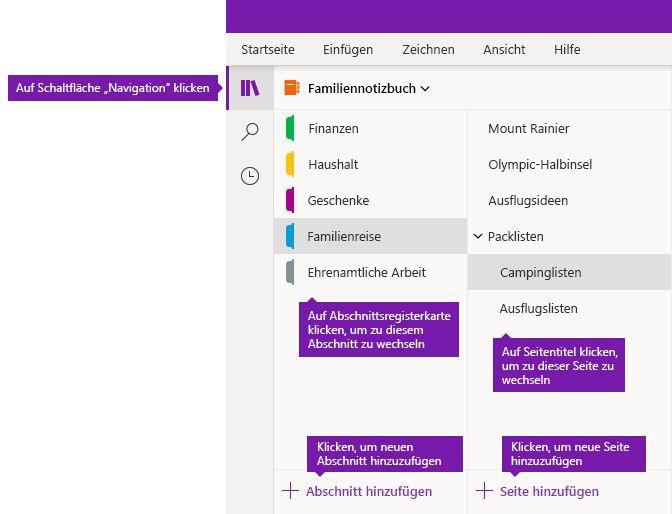 Abschnitte und Seiten in OneNote Online für Windows 10