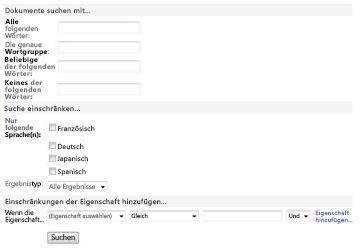 'Feld für erweiterte Suche'-Webpart