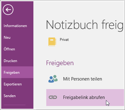 "Screenshot der Option ""Freigabelink abrufen"" in OneNote 2016."