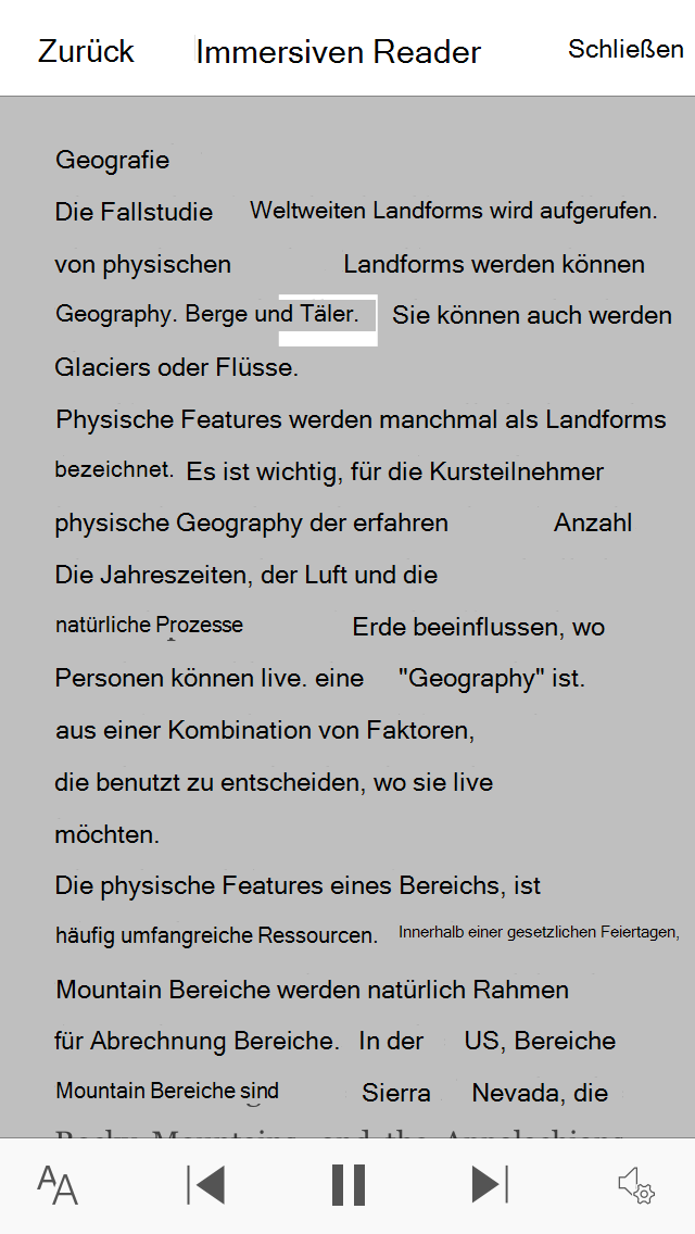 Screenshot der Office Lens immersiven Reader-Ansicht.
