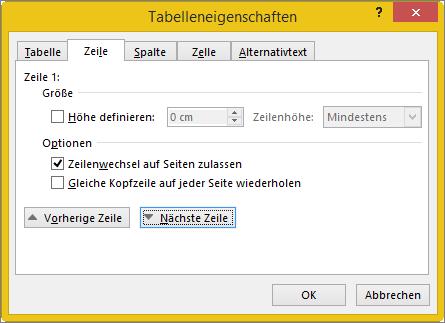 """Registerkarte """"Zeile"""" im Dialogfeld """"Tabelleneigenschaften"""""""