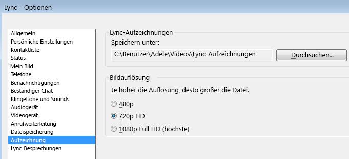 Screenshot von Auflösung und Speicherort von Aufzeichnungen