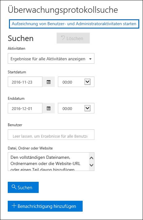 """Klicken Sie auf """"Mit der Aufzeichnung von Benutzer- und Administratoraktivitäten beginnen"""", um die Überwachung zu aktivieren."""