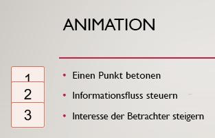 Zahlen in den Feldern linken, eingeschlossenen in Geben Sie an dem Vorhandensein von Animation auf der Folie.