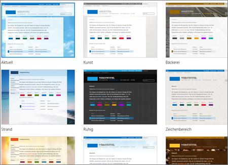 Office 365-Seite für Vorlagenauswahl mit optionalen Vorlagen für Layout und Design der öffentlichen Website