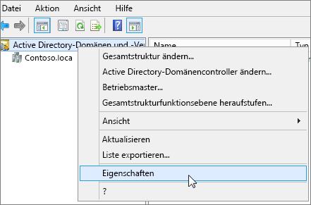 """Klicken Sie mit der rechten Maustaste auf """"ActiveDirectory-Domänen und -Vertrauensstellungen"""", und wählen Sie """"Eigenschaften"""" aus"""