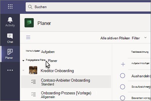 Screenshot der Aufgaben-App in Teams, die aktuell als Planner bezeichnet wird