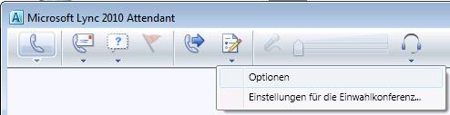Lync Attendant-Symbol 'Optionen'