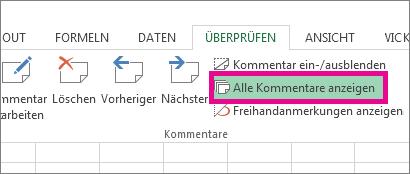 Option 'Alle Kommentare anzeigen' auf der Registerkarte 'Überprüfen'