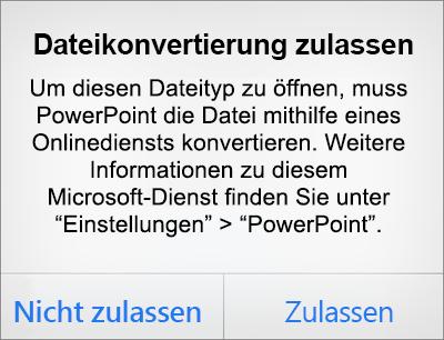 Zeigt die ODF-Datenschutzeingabeaufforderung in PowerPoint für iPhone