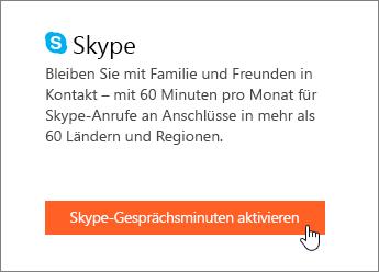 Screenshot, der zeigt, wo die Skype-Gesprächsminuten aktiviert werden
