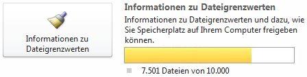 SharePoint Workspace-Dokumentzähler bei Verwendung von 7501 bis 9999 Dokumenten