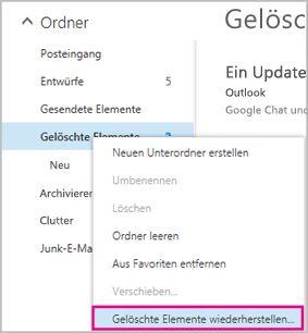 """Wiederherstellen gelöschter Elemente aus dem Ordner """"Gelöschte Elemente"""""""