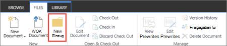 """Abbildung des SharePoint-Menübands """"Dateien"""" mit hervorgehobener Schaltfläche """"Neuer Ordner""""."""