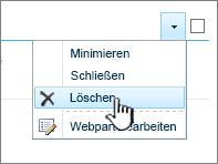 """Löschen eines App-Webparts im Menü """"Einstellungen für App-Webpart"""""""