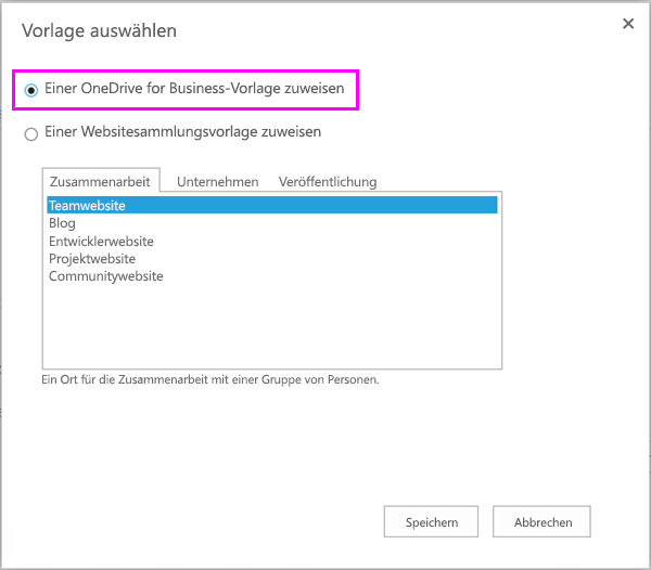Option zum Zuweisen zur OneDrive for Business-Vorlage