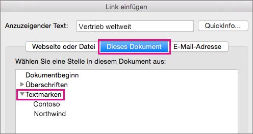 """Das Dialogfeld """"Link einfügen"""", in dem die Registerkarte """"Dieses Dokument"""" und """"Textmarken"""" hervorgehoben sind"""