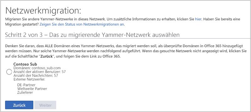 Screenshot von Schritt 2 von 3 – Das zu migrierende Yammer-Netzwerk auswählen