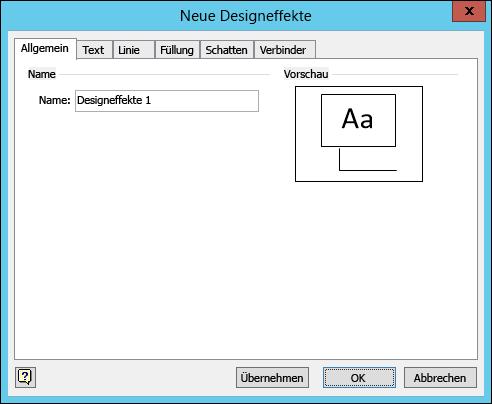 """Screenshot des Dialogfelds """"Neue Designeffekte erstellen"""" in Visio"""