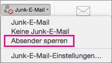 """In der Liste """"Junk"""" ist die Option """"Absender blockieren"""" hervorgehoben."""