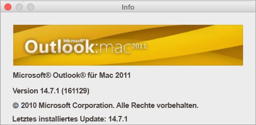"""Das Feld """"Info"""" enthält """"Outlook für Mac 2011""""."""