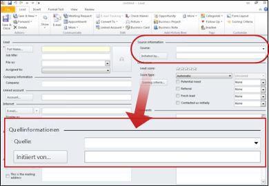 Screenshot mit im Abschnitt Quellinformationen des Datensatzes