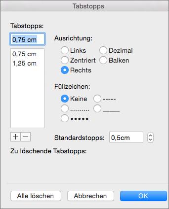 Dialogfeld 'Tabstopps'