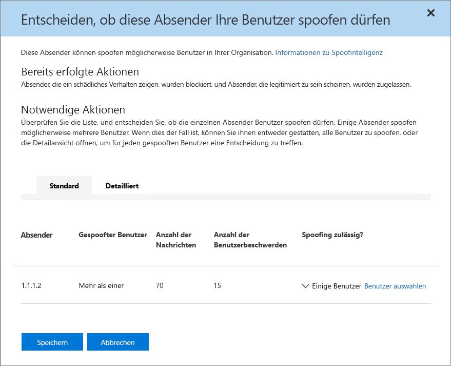 "Screenshot der Registerkarte ""Standard"" im Bereich für Spoofintelligenz des Security & Compliance Center"
