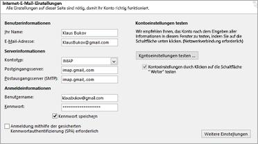 Ihre Gmail-Servereinstellungen eingeben