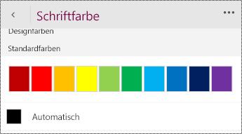"""Ändern der Einstellung für die Schriftfarbe auf """"Automatisch""""."""