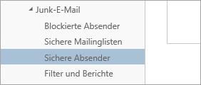 """Screenshot von """"Sichere Absender"""" im Menü """"Optionen"""""""