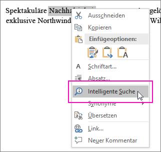Beim Rechtsklicken auf Text oder ein Bild wird 'Intelligente Suche' hervorgehoben